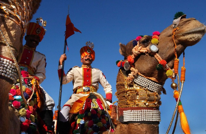 Tourists and locals enjoy the Desert festival of Jaisalmer in India